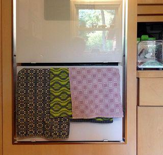 Towels on oven door